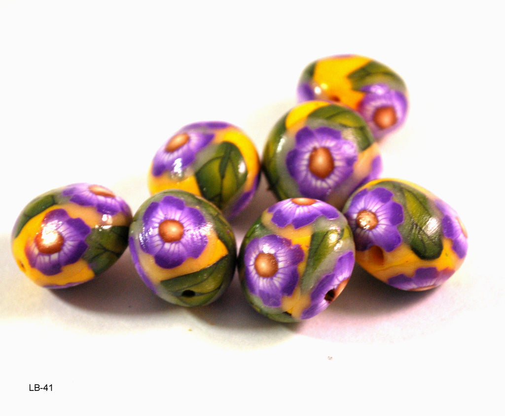 purple flower lentil beads