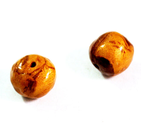 13mm Handmade Polymer Clay Beads Set of 2 Gold, Jewelry Supplies