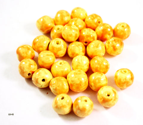 12mm Handmade Polymer Clay Beads Orange and Yellow Set of 30