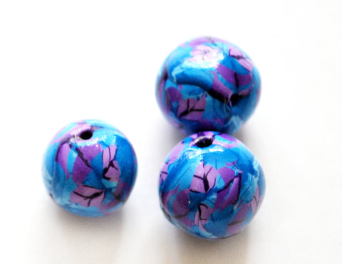 13mm Handmade Polymer Clay Beads Set of 3 Purple Blue, Jewelry Supplies