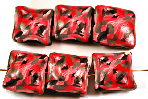 6 Red Black Pillow Handmade Polymer Clay Beads Jewelry Making Supplies