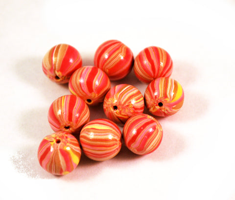 13mm Handmade Polymer Clay Beads Pink Yellow Stripe, Jewelry Supplies