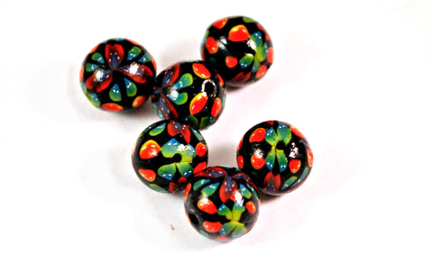 Set of 6 15mm Handmade Polymer Clay Beads Black, Green Jewelry Supplies