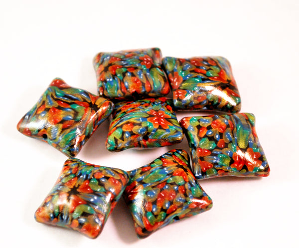 7 Red, Green Pillow Handmade Polymer Clay Beads Jewelry Making Supplies