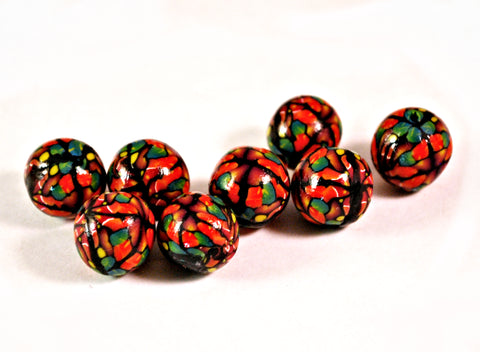 15mm Handmade Polymer Clay Beads Red Green, Jewelry Supplies