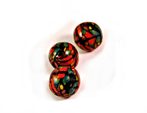 10mm Handmade Polymer Clay Beads Red Green, Jewelry Supplies