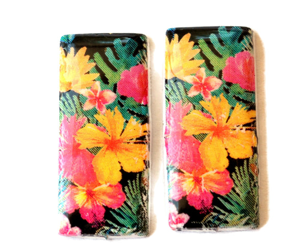30mm Tropical Flower Handmade Polymer Clay Beads Set of 2, Jewelry Supplies