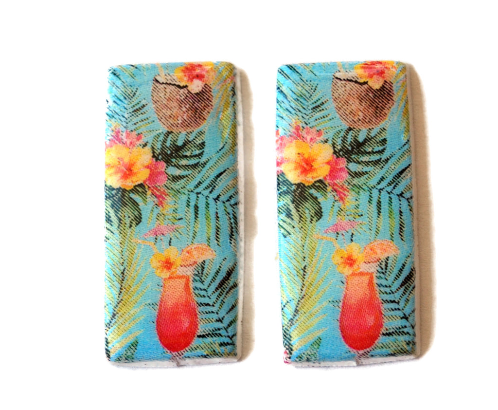 30mm Tropical Drink Handmade Polymer Clay Beads Set of 2, Jewelry Supplies