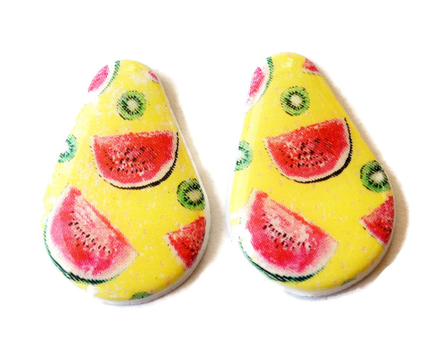 25mm Watermelon Kiwi Handmade Polymer Clay Beads Set of 2, Jewelry Supplies