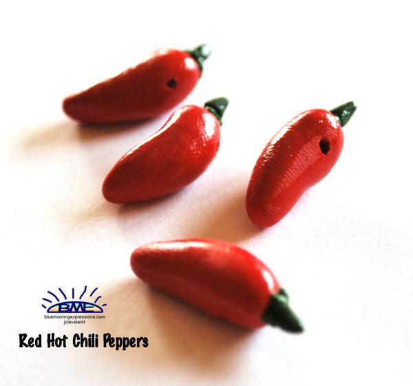 Red Hot Chili Pepper Novelty Beads, Handmade Polymer Clay Beads