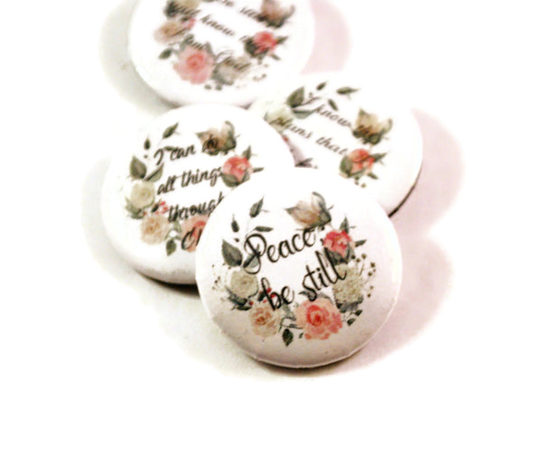 Set of 4 Christian Gifts Inspirational Bible Verse Round Pin Buttons