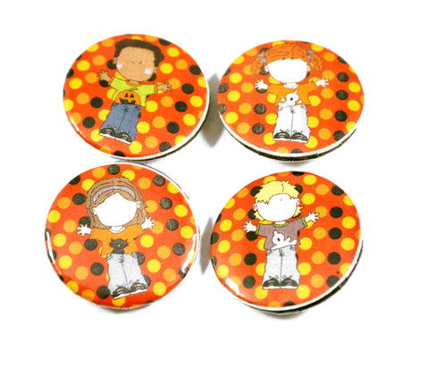 4 Halloween Kids Round Pin Buttons for Teachers Trick or Treat Gifts
