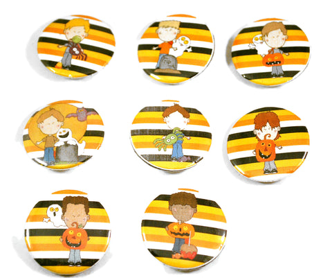 8 Halloween Kids Round Pin Buttons for Teachers Trick or Treat Gifts
