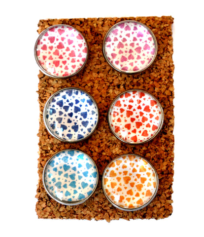 Colorful Heart Decorative Thumbtacks and Corkboard Pushpins for Bulletin Boards