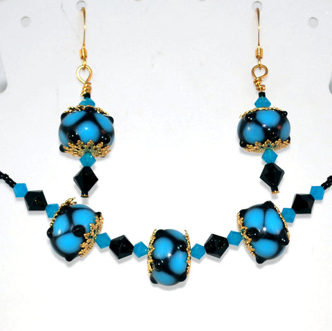 Blue and Black Lampwork Bead Necklaces Handmade Womens Jewelry Set