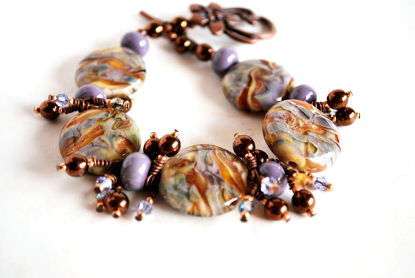 Lavender and Gold Bracelet and Earrings Jewelry Set for Women