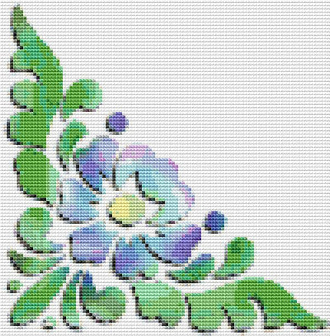 Corner, Flower, Free Counted Cross Stitch Pattern, Download Printable