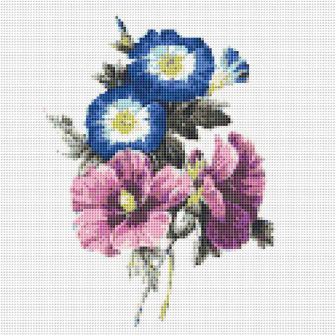 Free Counted Cross Stitch Pattern with Wildflowers, Digital Download Printable