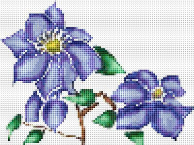 Columbine, Blue Flowers Free Counted Cross Stitch Pattern, Download Printable