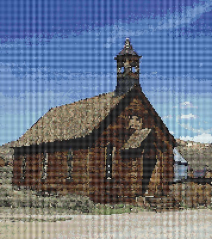 brown church counted cross stitch pattern