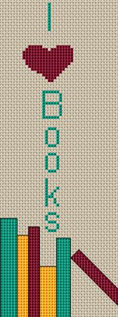 Bookmark, Cross Stitch Bookmark, I Love Books, Counted Cross Stitch Pattern, Xstitch