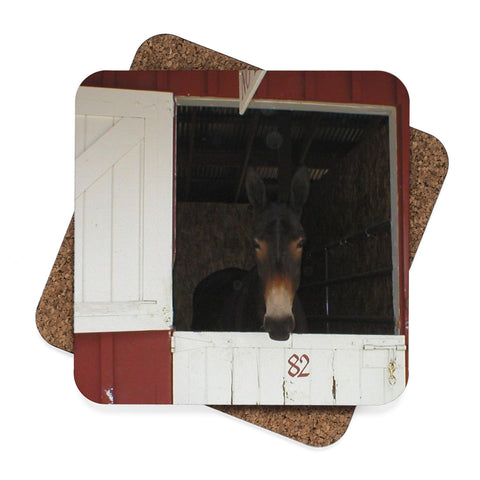 Mule Square Hardboard Coaster Set - 4pcs