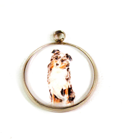 Dog 20mm Stainless Steel Glass Dome Charms, Variety of Breeds Handmade