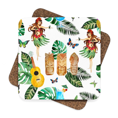 Tiki Bar Square Hardboard Coaster Set - 4pcs