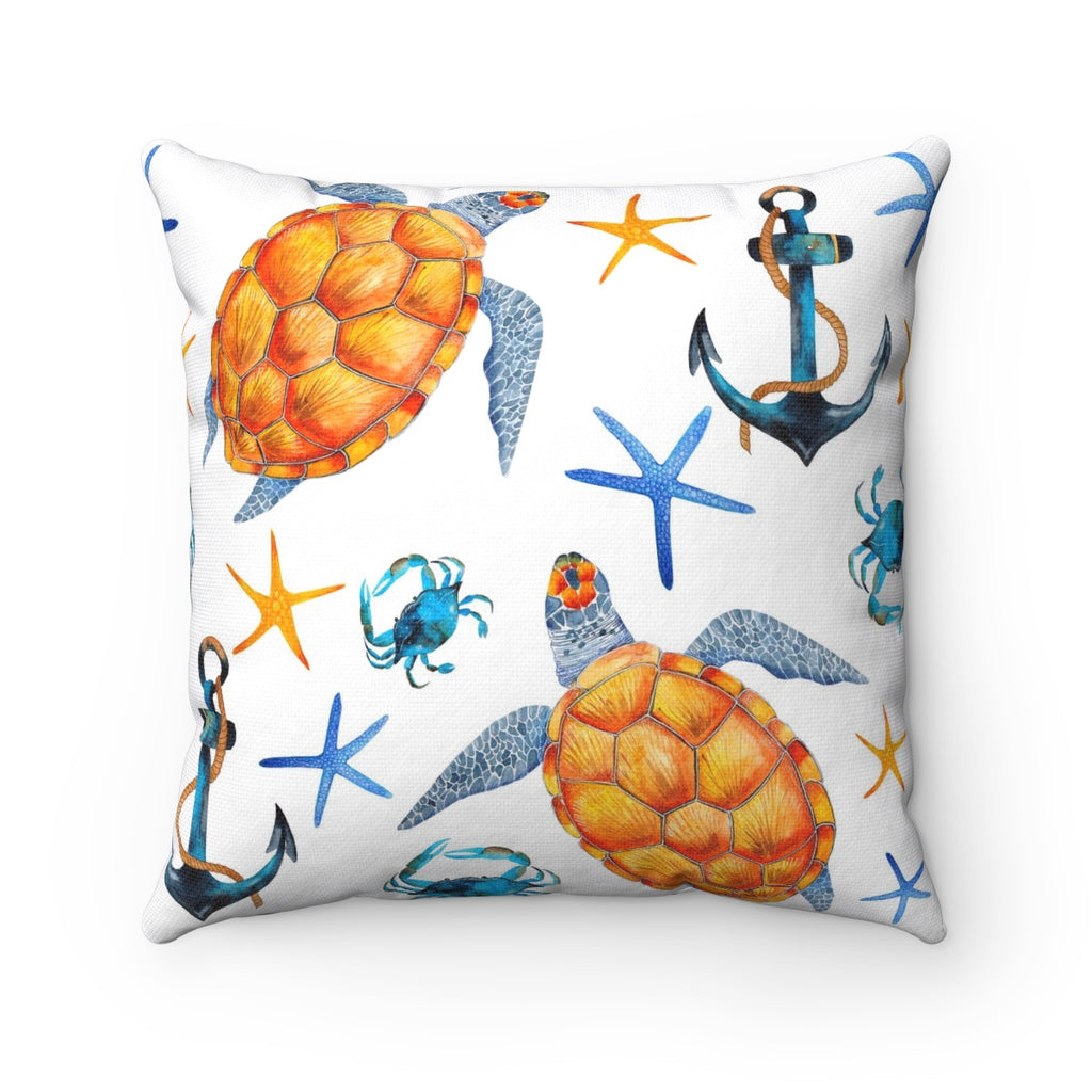 Sea Turtle Decorative Throw Pillow, Beach House Throw Pillow, Tropical Decor Throw Pillow