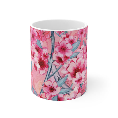 Cherry Blossom White Ceramic Coffee Mug, 11oz and 15oz