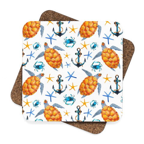 Sea Turtle Beach House Square Hardboard Coaster Set - 4pcs