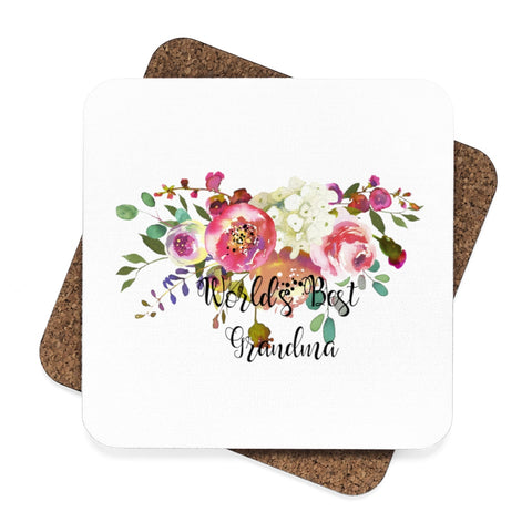 World's Best Grandma Square Hardboard Coaster Set - 4pcs