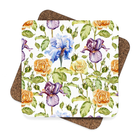 Purple Iris Square Hardboard Coaster Set - 4pcs