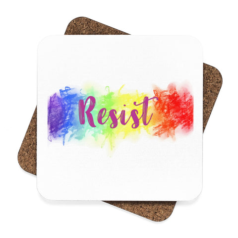 Resist Square Hardboard Coaster Set - 4pcs