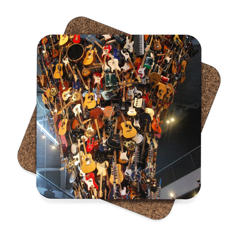 Tower of Guitars Square Hardboard Coaster Set - 4pcs