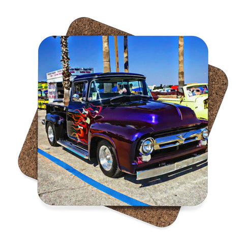 Truck Square Hardboard Coaster Set - 4pcs
