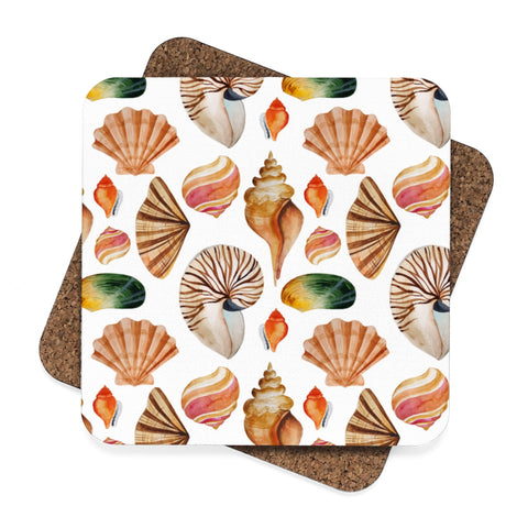 Sea Shells Beach House Square Hardboard Coaster Set - 4pcs