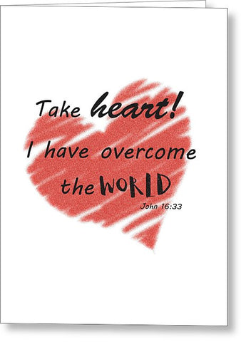 Take Heart Bible Verse Christian Blank Note Card, Greeting Card with Envelope