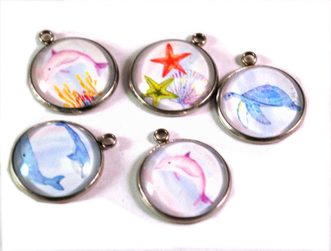 Ocean Life 20mm Stainless Steel Glass Dome Charms
