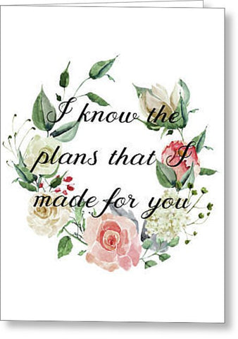 I Know the Plans Bible Verse Blank Note Card, Greeting Card with Envelope