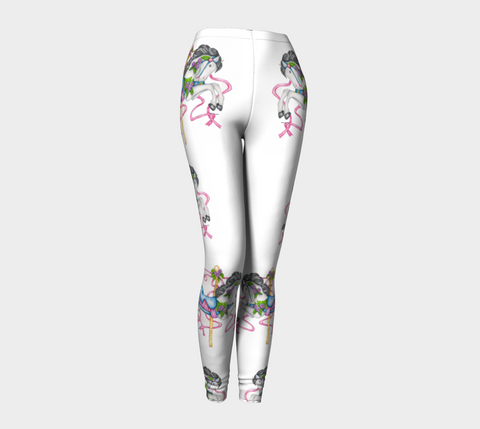 White Carousel Horse Leggings