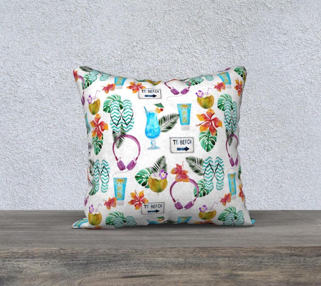 Beach Scene Pillow Case for  Florida Home, Summer Beach Theme Pillow Case, Decorative Pillow