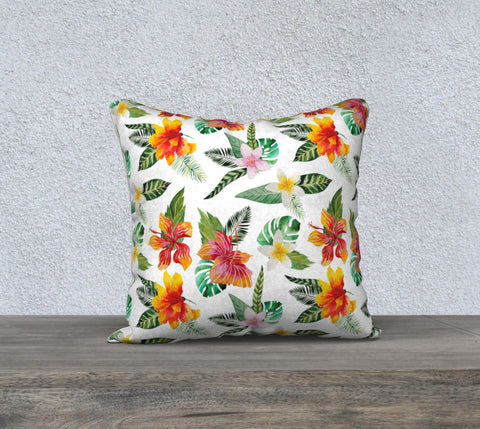 Hibiscus Pillow Case for Florida Home Decor, Sunroom Beach Decor, Beach Theme Pillow Case