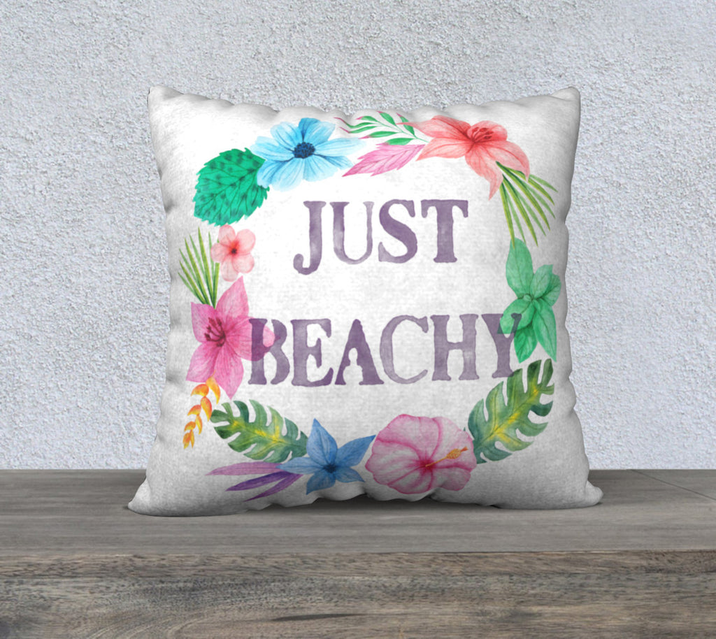 Just Beachy Beach Scene Pillow Case for Florida Home Decor, Sunroom Beach Decor, Beach Theme Pillow Case