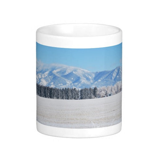 Rocky Mountain Winter Coffee Mug, Mountains Coffee Mug, Montana Winter Coffee Mug