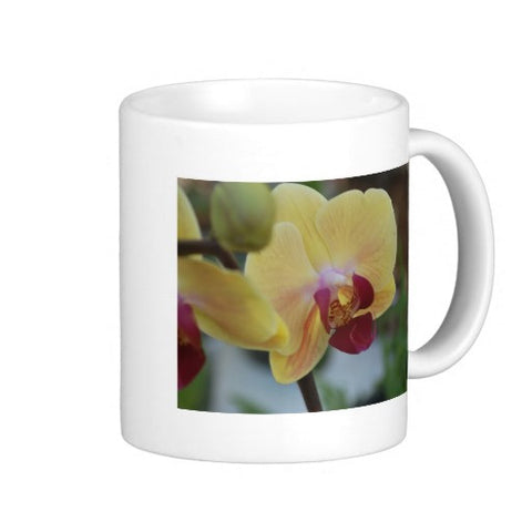 Pink and Yellow Orchid Flower Coffee Mugs, 11 oz 15 oz Ceramic