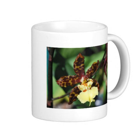 brown and yellow orchid coffee mug