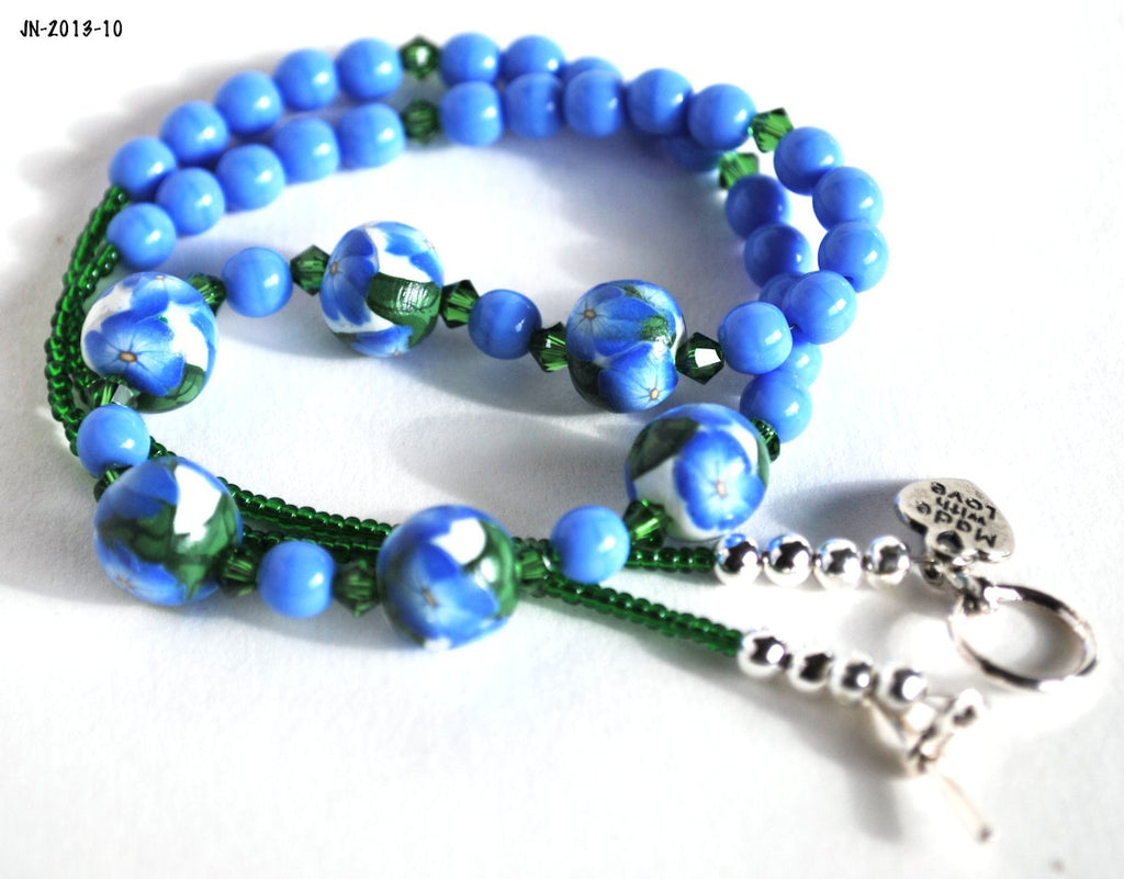Blue Flower Beaded Necklace with Swarovski Crystals