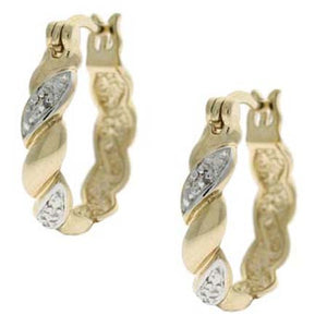 18k Gold Coated Diamond Accent Twist Hoop Earrings