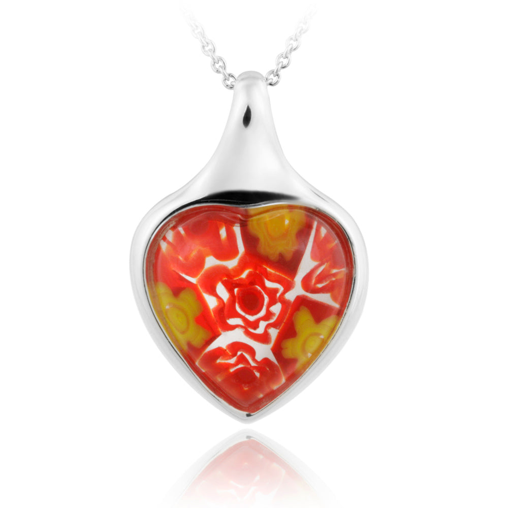 Red Millefoiri Glass Heart Silver Pendant